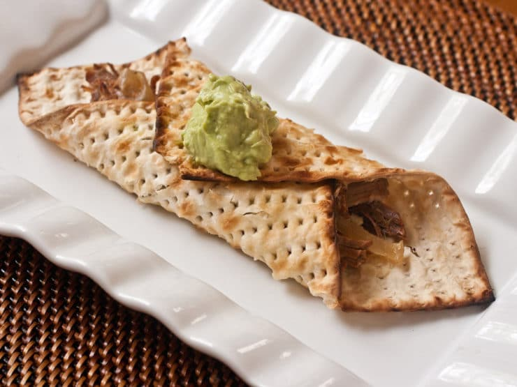 Grilled Matzo Brisket Wraps - Kathy Strahs shares a unique Kosher for Passover grilled panini wrap, perfect for using up your leftover Passover brisket and matzo.