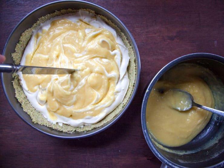 Passover Lemon Swirled Honey Cheesecake with Pistachio Crust