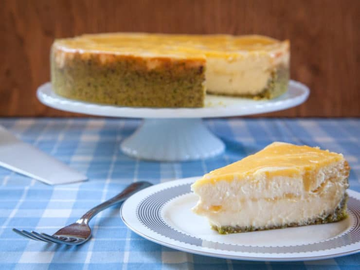 Passover Lemon Swirled Honey Cheesecake with Pistachio Crust