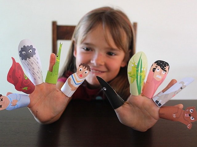 Passover Finger Puppets - The Ten Plagues, Printable Jewish