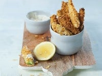Potato Chip Zucchini Sticks with Lemon Mayo Sauce