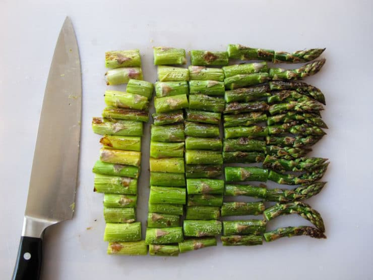 Roasted asparagus cut in pieces.