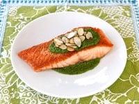 Seared Salmon with Toasted Almond Pesto