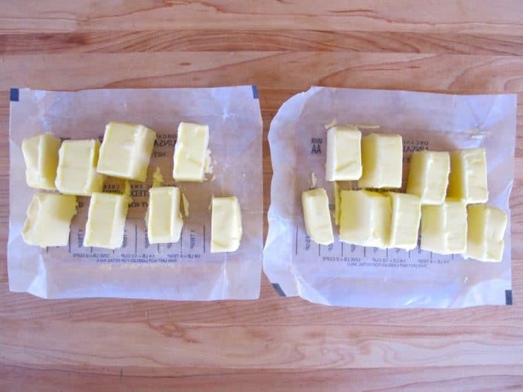 Sticks of butter sliced.