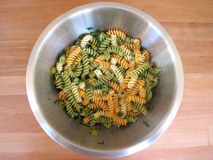 Meyer Lemon Basil Pasta Salad in a mixing bowl.