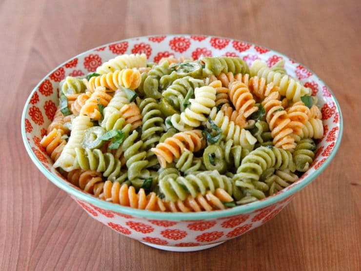 Meyer Lemon Basil Pasta Salad - Meyer lemon, fresh basil and ripe green olives give this summery pasta salad a lovely twist. Perfect for potlucks, picnics, barbecues.