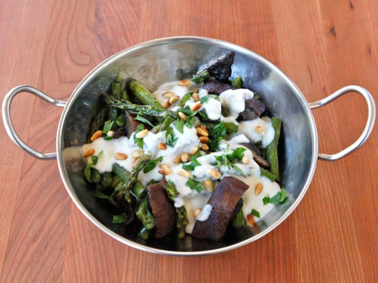 Roasted Portobellos & Asparagus with Goat Cheese Sauce - Simple vegetarian entree or side dish recipe with roasted asparagus, portobello mushrooms, creamy goat cheese sauce and pine nuts. Kosher, Dairy.