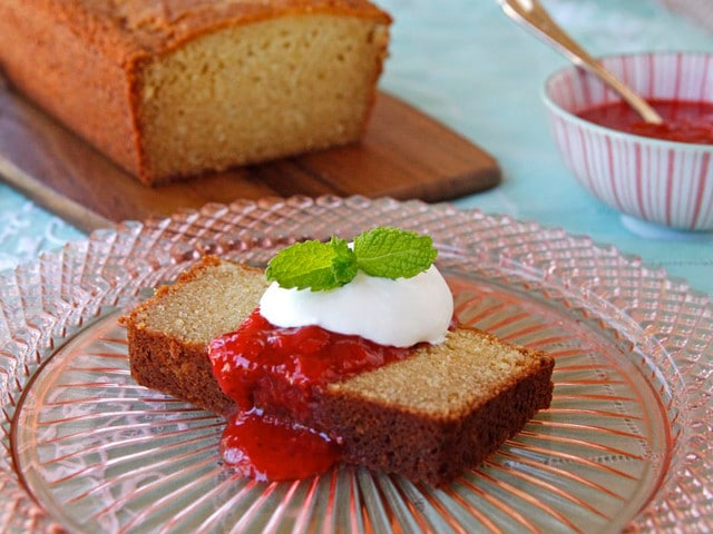 Almond Ricotta Pound Cake with Strawberry Rhubarb Compote