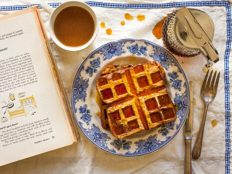 Bread and Butter Waffles - A quaint and ridiculously easy vintage recipe for Bread and Butter Waffles from the 1950's. A cross between French toast and waffles.