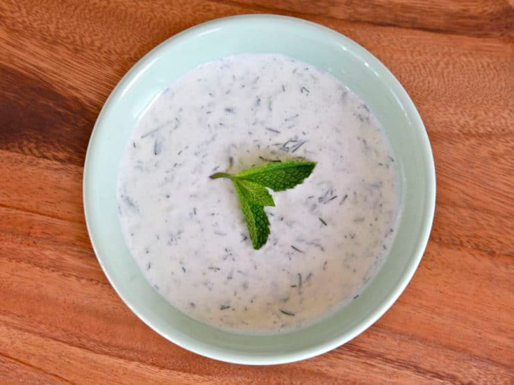 Chilled Greek Yogurt Soup with Cucumbers and Dill - Simple no-cook chilled soup. Perfect for spring and summer, cool and refreshing. Kosher, Dairy.