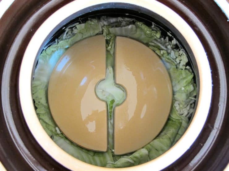 Fermentation crock overhead shot - top layer of whole cabbage leaves covered by two half disk weights, topped off with liquid.