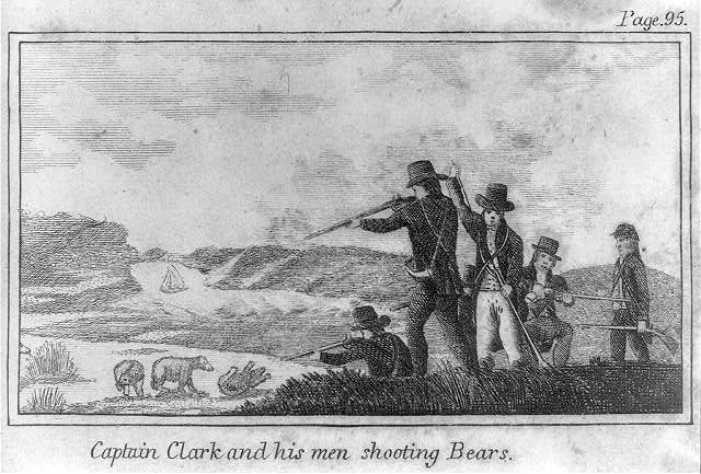 Captain Clark and his men shooting Bears