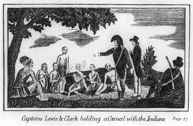Captains Lewis and Clark with Indians