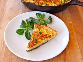 Mushroom, Harissa & Goat Cheese Frittata - A delicious and healthy frittata with seared mushrooms, spicy harissa, garlic, fresh parsley and goat cheese. Easy light entree. Kosher, Dairy.