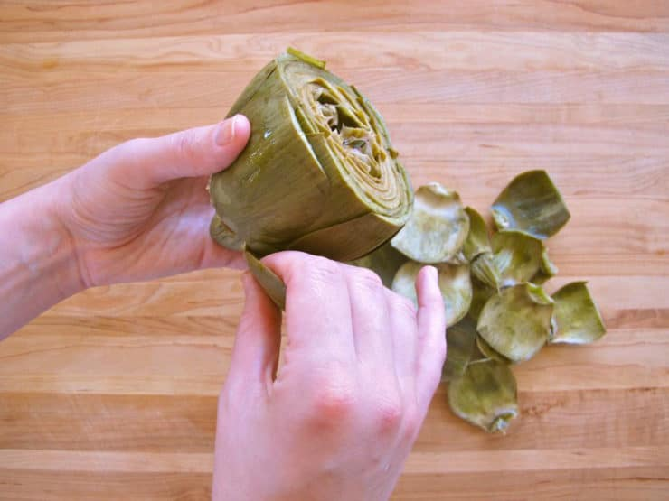 Removing cooked leaves from an artichoke.