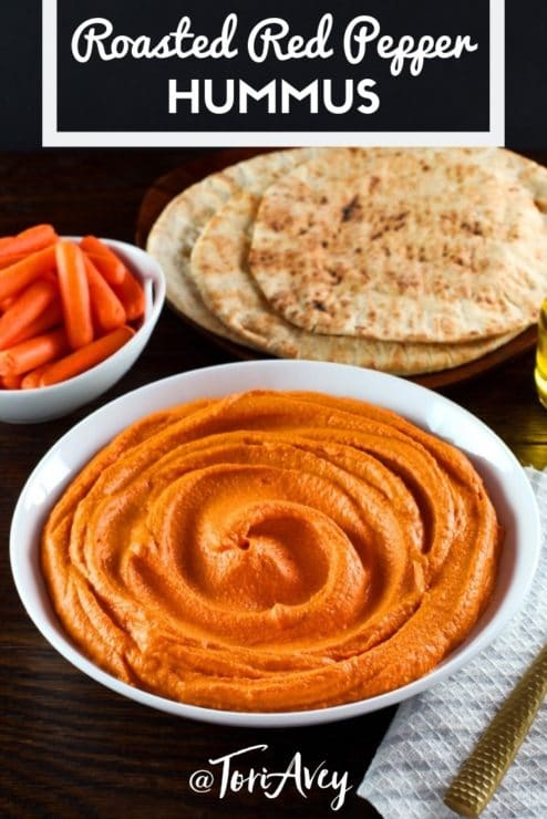 Roasted Red Pepper Hummus Pinterest Pin on ToriAvey.com
