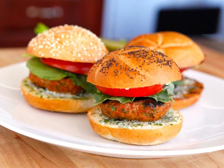 Spiced Up Turkey Burger Recipe with Lemon Herb Mayo - Recipe for juicy, flavorful Spiced Up Turkey Burgers and Lemon Herb Mayo. Smoked paprika, cayenne, fresh herbs and spices. Healthy, kosher.