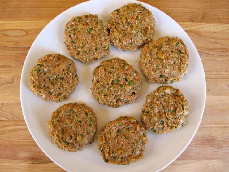 Formed turkey burgers on a plate.
