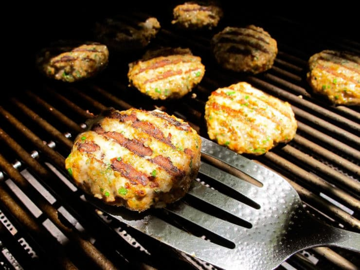 Turkey burgers on the grill.