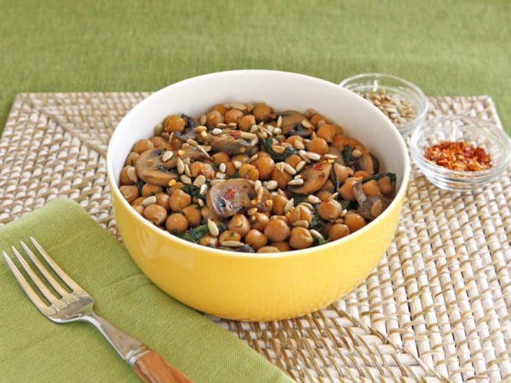 Chickpea, Spinach and Mushroom Sauté