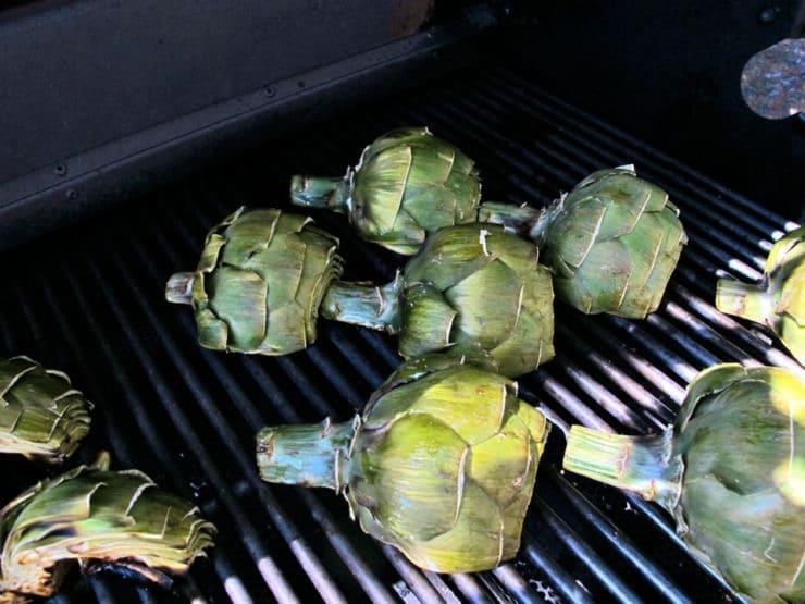 Artichoke halves on the grill.