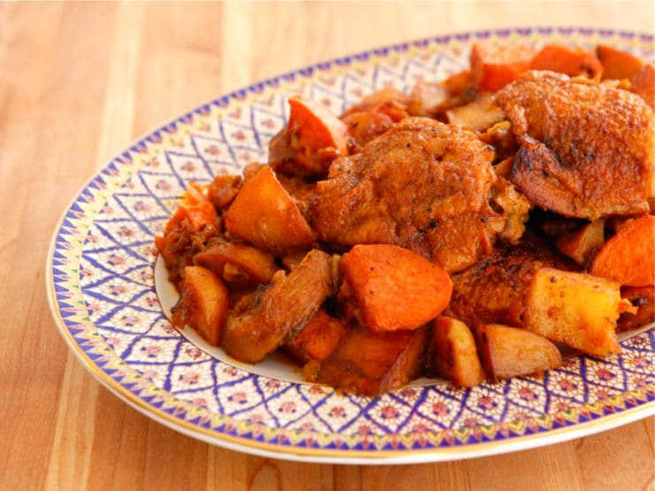 Israeli-style Chicken Sofrito - Braised in broth and paired with russet and sweet potatoes and Sephardic Israeli spices. Kosher. One-pot recipe.