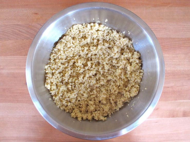 Cooked quinoa in a mixing bowl.