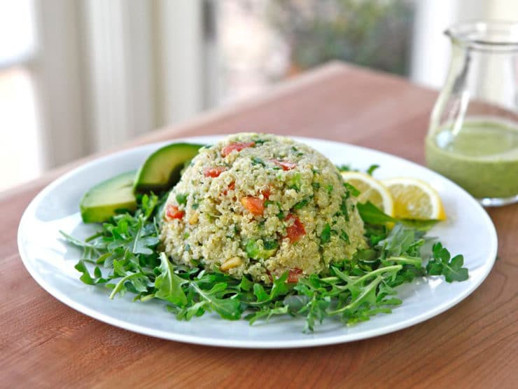 Quinoa Avocado Tabbouleh on TheShiksa.com #healthy #recipe #glutenfreQuinoa Avocado Tabbouleh - In this modern take on tabbouleh salad, I've replaced bulgur with quinoa and added ripe avocado and pine nuts. Creamy dairy-free basil dressing. Healthy, gluten free recipe.