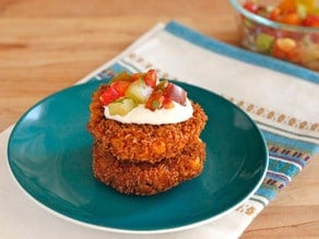 Corn Panko and Pepper Schnitzel with Heirloom Tomato Relish - Vegetarian Recipe