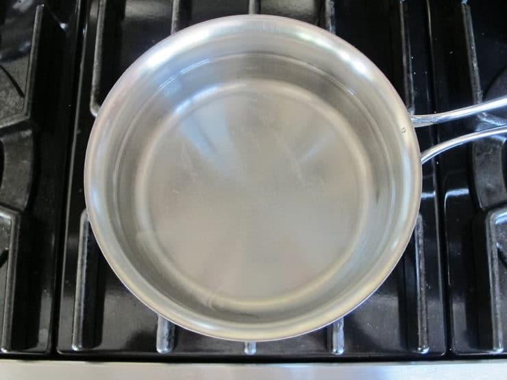 Making brine in a saucepan.