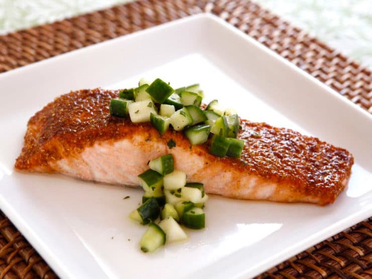 Spice Broiled Salmon with Green Apple Salad - Recipe for broiled salmon with a sweet, golden spice crust topped with a crisp salad made with apples, cucumber and honey. Rosh Hashanah.