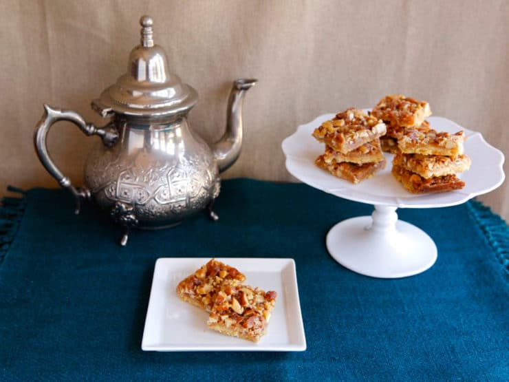 Bienenstich Bars - The Monday Morning Cooking Club shares a recipe for sweet Bienenstich Bars inspired by Lena Goldstein, a survivor of the Warsaw Ghetto.