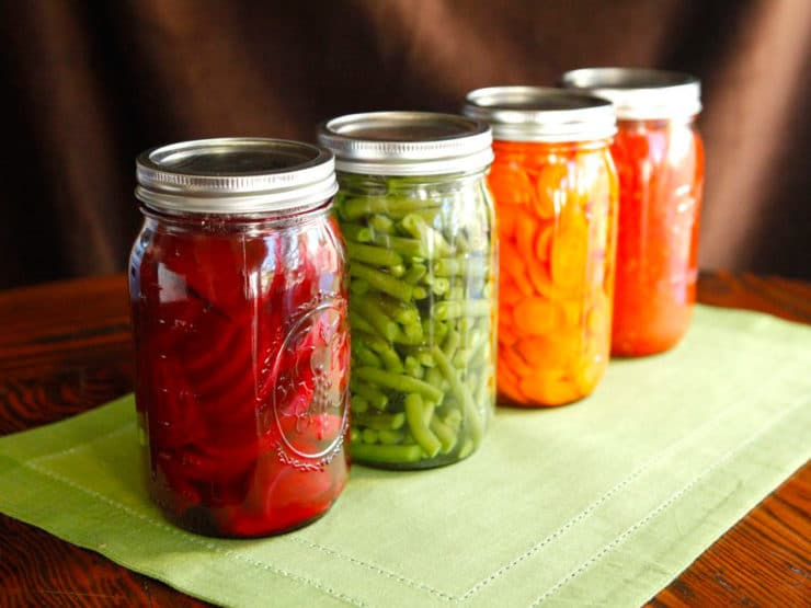 Four jars placed in a diagonal line, filled with canned colorful vegetables - green beans, beets, carrots and tomato sauce on a green placemat.