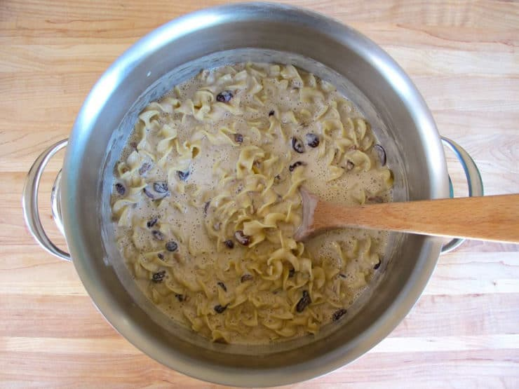 rum raisins cranberries and walnuts and stir into the noodles