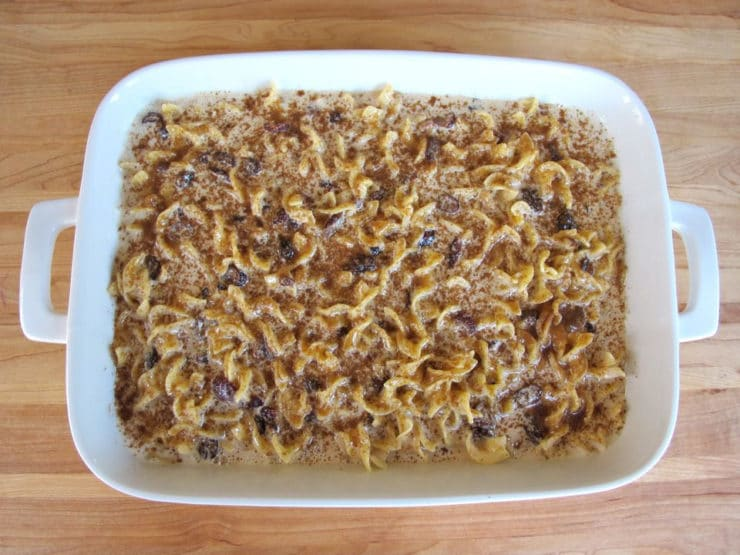 Kugel poured into a baking dish for the oven.