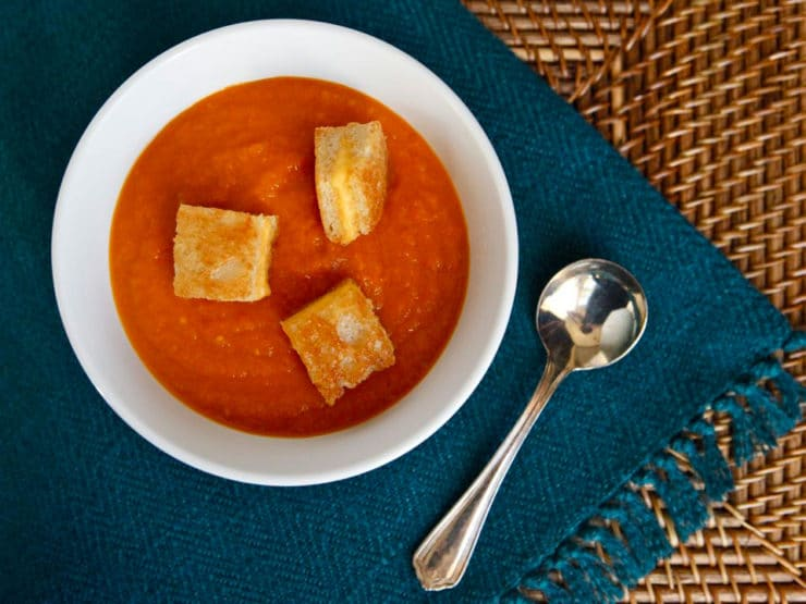 Grilled Tomato Soup With Grilled Cheese Croutons Recipe — Dishmaps