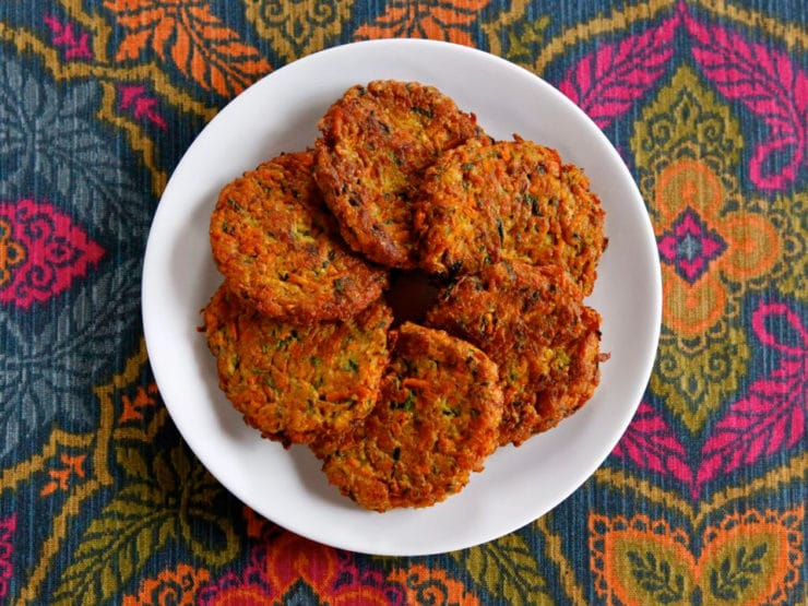 Curry Latkes made from vegetables- no potato shreds. Crispy and tasty, a healthier latke.