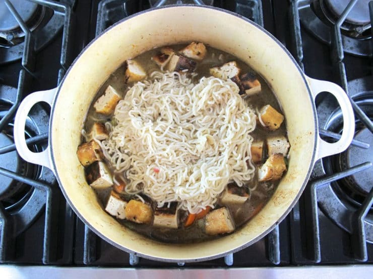 Noodles added to stock pot.