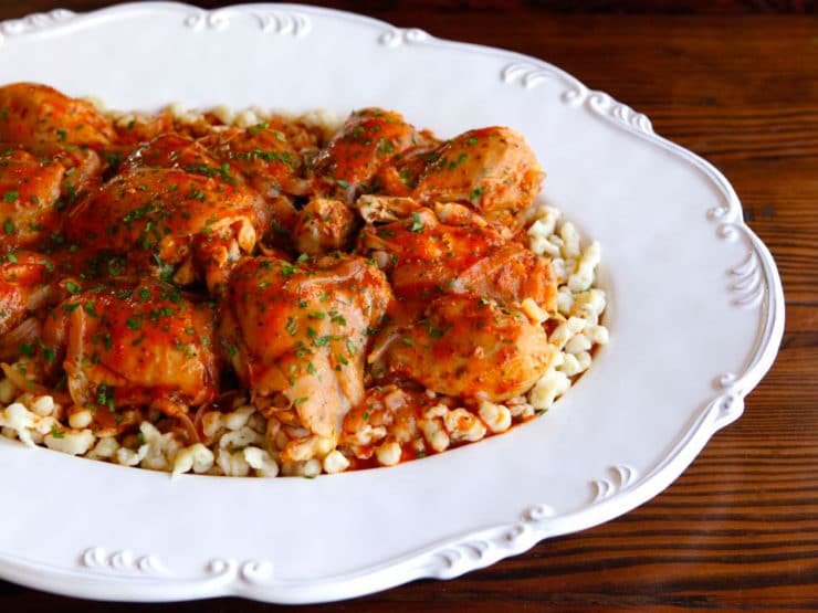 Michael Berkowits' Kosher Chicken Paprikash - Learn to make kosher Chicken Paprikash. Dairy free and delicious. Serve over homemade nokedli, rice, potatoes or any of your favorite starches.