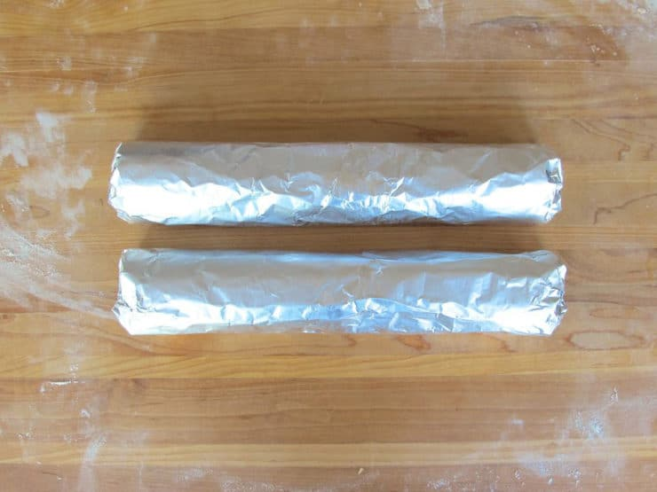 Wrap dough logs in foil.