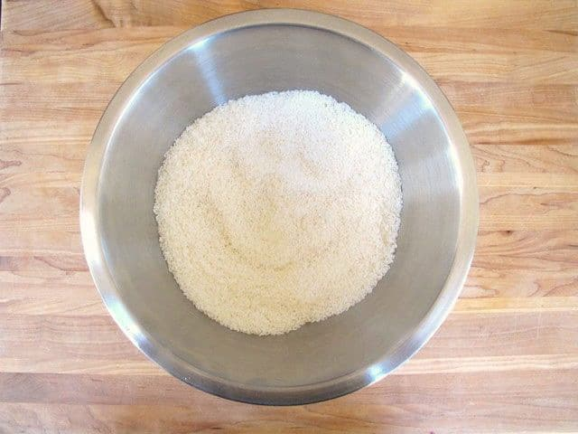 Dry filling ingredients in a mixing bowl.