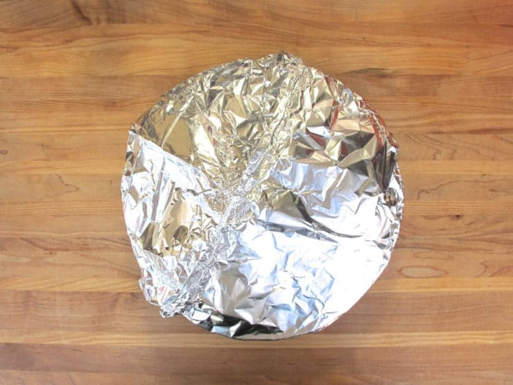 Tent pie with foil before baking.
