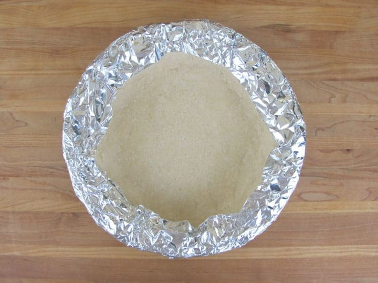 Cover edge of pie crust with foil before baking.