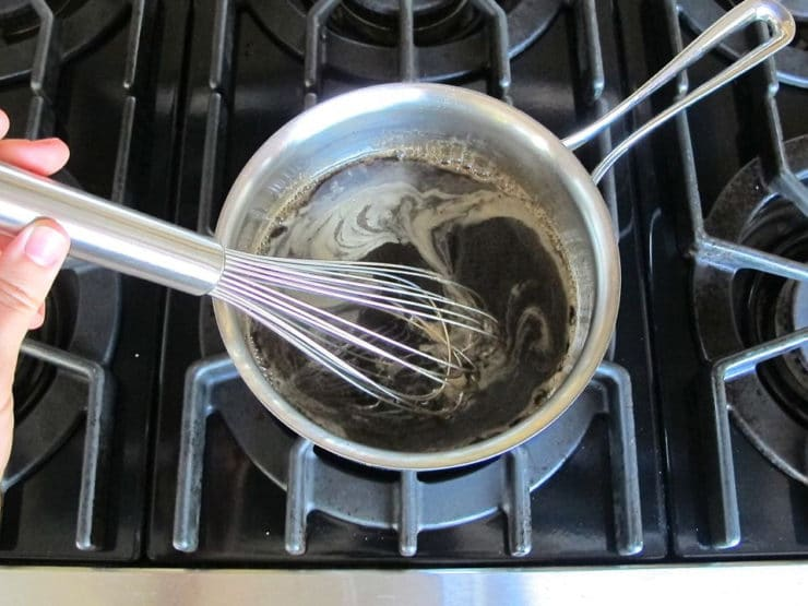 Bring syrup to a boil.