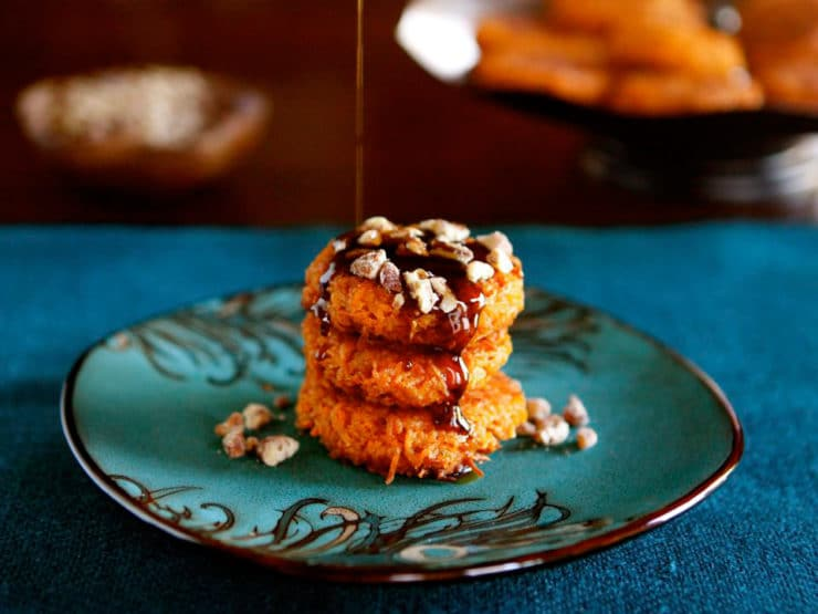 Sweet Potato Latkes - savory or sweet with Brown Sugar Syrup and Cayenne Candied Pecans. Perfect for Thanksgiving or Hanukkah.