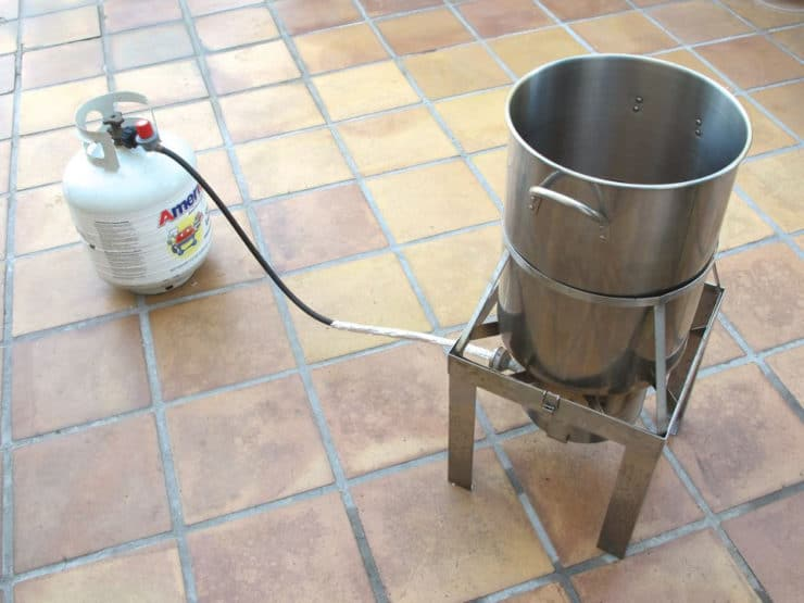 Set up the turkey fryer on a clean, level surface.