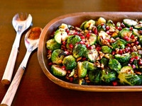 Roasted Brussels Sprouts with Pomegranate Molasses - Easy Vegan Holiday Side Dish Recipe