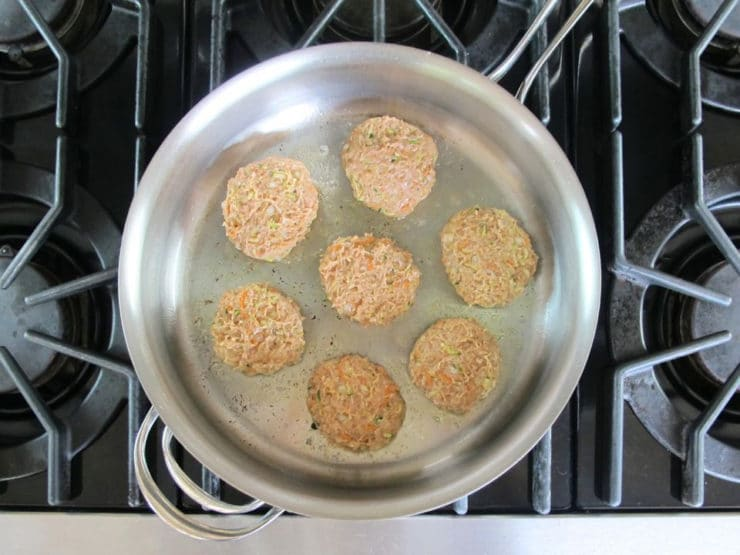 Brown patties in a pan, being careful not to overcrowd.
