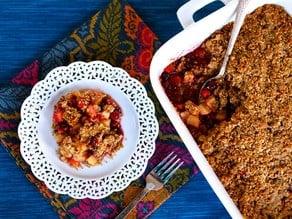 Matzo Crisp with Pear, Apple and Cranberries - Seasonal Kosher Dessert Recipe