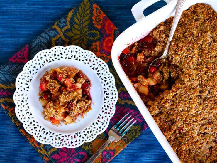 Matzo Crisp with Pear, Apple and Cranberries - A simple and divine holiday dessert made with matzo meal, autumn fruits and spices. Kosher and perfect for Hanukkah, Thanksgiving, Sukkot.